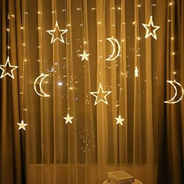 LED Lichterkettenvorhang Innen, Curtain Lights, Ramadan Dekoration 3,5 m, Star Moon Lichtervorhang, Girlande/dekorative Lichter für Hochzeit, Haus, Garten, Weihnachten, Fenstervorhang Dekoration - 3