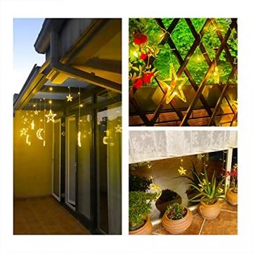LED Lichterkettenvorhang Innen, Curtain Lights, Ramadan Dekoration 3,5 m, Star Moon Lichtervorhang, Girlande/dekorative Lichter für Hochzeit, Haus, Garten, Weihnachten, Fenstervorhang Dekoration - 4