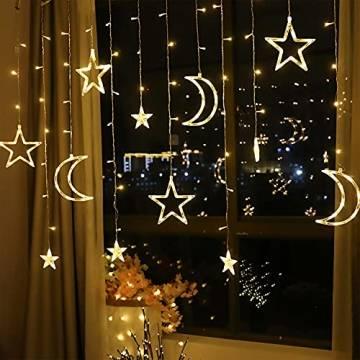 LED Lichterkettenvorhang Innen, Curtain Lights, Ramadan Dekoration 3,5 m, Star Moon Lichtervorhang, Girlande/dekorative Lichter für Hochzeit, Haus, Garten, Weihnachten, Fenstervorhang Dekoration - 1