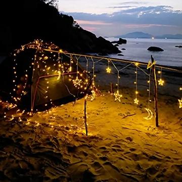 LED Lichterkettenvorhang Innen, Curtain Lights, Ramadan Dekoration 3,5 m, Star Moon Lichtervorhang, Girlande/dekorative Lichter für Hochzeit, Haus, Garten, Weihnachten, Fenstervorhang Dekoration - 5