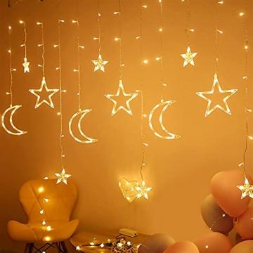 LED Lichterkettenvorhang Innen, Curtain Lights, Ramadan Dekoration 3,5 m, Star Moon Lichtervorhang, Girlande/dekorative Lichter für Hochzeit, Haus, Garten, Weihnachten, Fenstervorhang Dekoration - 6