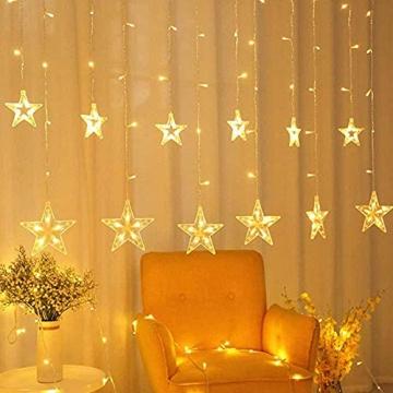 LED Lichtervorhang, Kaliwa Batteriebetriebe Lichterkette 138 LEDs Weihnachts Lichter mit 12 Sterne und LED Kugels, 2 Modi, IP44 Wasserdicht, ideal für Innenräume/Weihnachten/Partydeko (Warmweiß) - 2
