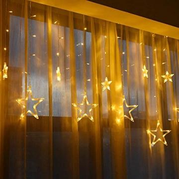 LED Lichtervorhang, Kaliwa Batteriebetriebe Lichterkette 138 LEDs Weihnachts Lichter mit 12 Sterne und LED Kugels, 2 Modi, IP44 Wasserdicht, ideal für Innenräume/Weihnachten/Partydeko (Warmweiß) - 5