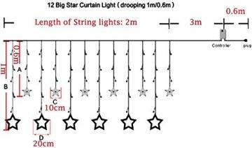 LED Lichtervorhang, Kaliwa Batteriebetriebe Lichterkette 138 LEDs Weihnachts Lichter mit 12 Sterne und LED Kugels, 2 Modi, IP44 Wasserdicht, ideal für Innenräume/Weihnachten/Partydeko (Warmweiß) - 6