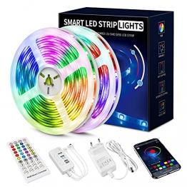 Led Strip 20m, 5050 RGB Led Streifen Selbstklebend mit Fernbedienung und APP 16 Mio. Farben, Led Kette Farbwechsel Led Lichterkette Sync mit Musik für Zuhause, Schlafzimmer, Küche, Party (20m) - 1
