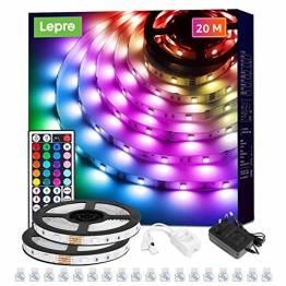 Lepro LED Strip 20M (2x10M), LED Streifen Lichterkette mit Fernbedienung, Band Lichter, RGB Dimmbar Lichtleiste Light, Lichtband Leiste, Bunt Kette Stripes für Party Weihnachten Deko - 1