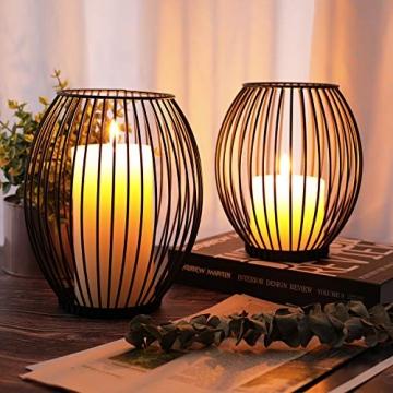 LIBWYS 2 Stück KerzenständerMetall Oval Kerzenhalter KerzenleuchterKreativ Vintage Kerzen Ständer für Weihnachten,Hochzeit, Wohnzimmer TischdekoOval Korb Halter, Schwarz,14 x 17cm, 17 x 20cm - 2