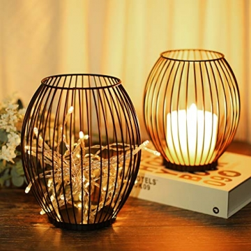 LIBWYS 2 Stück KerzenständerMetall Oval Kerzenhalter KerzenleuchterKreativ Vintage Kerzen Ständer für Weihnachten,Hochzeit, Wohnzimmer TischdekoOval Korb Halter, Schwarz,14 x 17cm, 17 x 20cm - 4