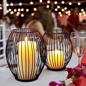 LIBWYS 2 Stück KerzenständerMetall Oval Kerzenhalter KerzenleuchterKreativ Vintage Kerzen Ständer für Weihnachten,Hochzeit, Wohnzimmer TischdekoOval Korb Halter, Schwarz,14 x 17cm, 17 x 20cm - 1