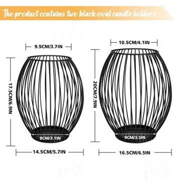 LIBWYS 2 Stück KerzenständerMetall Oval Kerzenhalter KerzenleuchterKreativ Vintage Kerzen Ständer für Weihnachten,Hochzeit, Wohnzimmer TischdekoOval Korb Halter, Schwarz,14 x 17cm, 17 x 20cm - 7