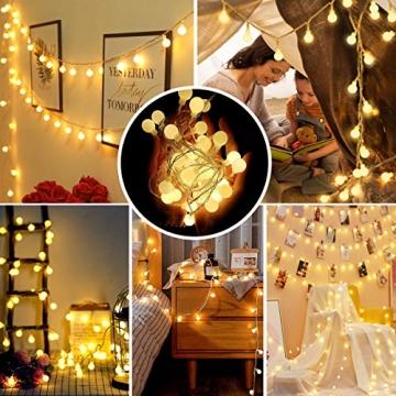Lichterkette 120er LEDs Kugel Lichterkette Innen/Außen, LOFTer 15M Globe Lichterkette Warmweiß mit 8 Leuchtmodis, Wasserdicht Deko Lichterkette Strombetrieben für Garten/Party/Hochzeit/Weihnachten - 2
