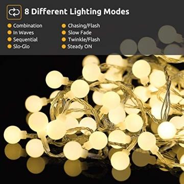 Lichterkette 120er LEDs Kugel Lichterkette Innen/Außen, LOFTer 15M Globe Lichterkette Warmweiß mit 8 Leuchtmodis, Wasserdicht Deko Lichterkette Strombetrieben für Garten/Party/Hochzeit/Weihnachten - 3