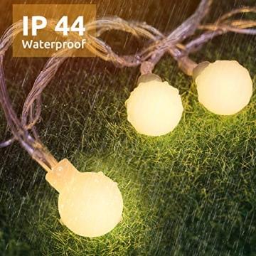 Lichterkette 120er LEDs Kugel Lichterkette Innen/Außen, LOFTer 15M Globe Lichterkette Warmweiß mit 8 Leuchtmodis, Wasserdicht Deko Lichterkette Strombetrieben für Garten/Party/Hochzeit/Weihnachten - 4