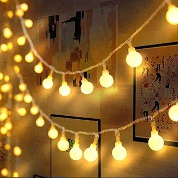 Lichterkette 120er LEDs Kugel Lichterkette Innen/Außen, LOFTer 15M Globe Lichterkette Warmweiß mit 8 Leuchtmodis, Wasserdicht Deko Lichterkette Strombetrieben für Garten/Party/Hochzeit/Weihnachten - 1