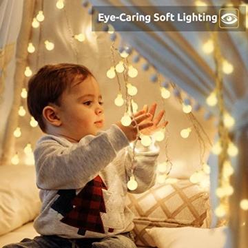 Lichterkette 120er LEDs Kugel Lichterkette Innen/Außen, LOFTer 15M Globe Lichterkette Warmweiß mit 8 Leuchtmodis, Wasserdicht Deko Lichterkette Strombetrieben für Garten/Party/Hochzeit/Weihnachten - 5