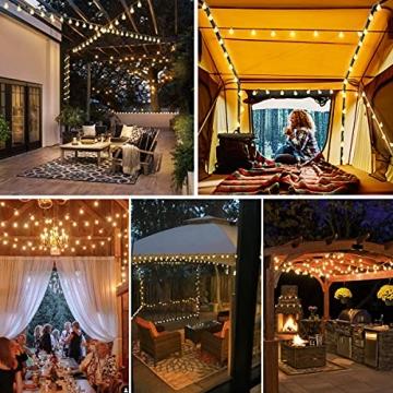 Lichterkette 120er LEDs Kugel Lichterkette Innen/Außen, LOFTer 15M Globe Lichterkette Warmweiß mit 8 Leuchtmodis, Wasserdicht Deko Lichterkette Strombetrieben für Garten/Party/Hochzeit/Weihnachten - 7
