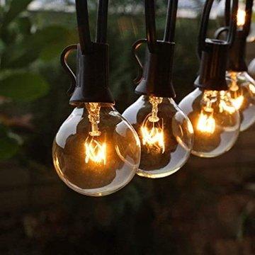 Lichterkette Außen FOCHEA Lichterkette Glühbirnen G40 11m 30er Globe LED Birnen Lichterkette Garten IP44 Wasserdichte für Weihnachten Hochzeit Party Aussen Dekoration Warmweiß - 1