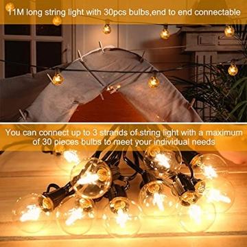 Lichterkette Außen FOCHEA Lichterkette Glühbirnen G40 11m 30er Globe LED Birnen Lichterkette Garten IP44 Wasserdichte für Weihnachten Hochzeit Party Aussen Dekoration Warmweiß - 6