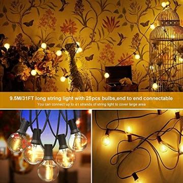 Lichterkette Außen FOCHEA Lichterkette Glühbirnen G40 9.5m 25er Globe LED Birnen Lichterkette Garten IP44 Wasserdichte für Weihnachten Hochzeit Party Aussen Dekoration Warmweiß - 3