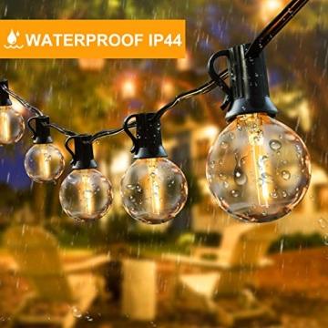 Lichterkette Außen FOCHEA Lichterkette Glühbirnen G40 9.5m 25er Globe LED Birnen Lichterkette Garten IP44 Wasserdichte für Weihnachten Hochzeit Party Aussen Dekoration Warmweiß - 4
