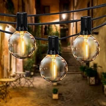 Lichterkette Außen FOCHEA Lichterkette Glühbirnen G40 9.5m 25er Globe LED Birnen Lichterkette Garten IP44 Wasserdichte für Weihnachten Hochzeit Party Aussen Dekoration Warmweiß - 1