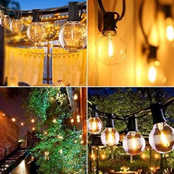 Lichterkette Außen FOCHEA Lichterkette Glühbirnen G40 9.5m 25er Globe LED Birnen Lichterkette Garten IP44 Wasserdichte für Weihnachten Hochzeit Party Aussen Dekoration Warmweiß - 6