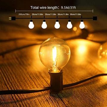 Lichterkette Außen FOCHEA Lichterkette Glühbirnen G40 9.5m 25er Globe LED Birnen Lichterkette Garten IP44 Wasserdichte für Weihnachten Hochzeit Party Aussen Dekoration Warmweiß - 7