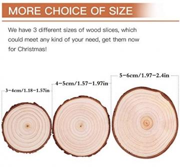 Liuer Rund Natur Holzscheiben,60PCS Holz Log Scheiben mit Baumrinde Unbehandeltes DIY Handwerk Dekoration Holz Tischdeko Hochzeits Weihnachten Baum Anhänger (3-4 cm,4-5 cm,5-6 cm,5MM Dicke) - 2