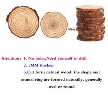 Liuer Rund Natur Holzscheiben,60PCS Holz Log Scheiben mit Baumrinde Unbehandeltes DIY Handwerk Dekoration Holz Tischdeko Hochzeits Weihnachten Baum Anhänger (3-4 cm,4-5 cm,5-6 cm,5MM Dicke) - 3
