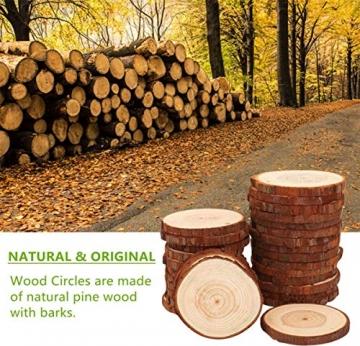 Liuer Rund Natur Holzscheiben,60PCS Holz Log Scheiben mit Baumrinde Unbehandeltes DIY Handwerk Dekoration Holz Tischdeko Hochzeits Weihnachten Baum Anhänger (3-4 cm,4-5 cm,5-6 cm,5MM Dicke) - 4