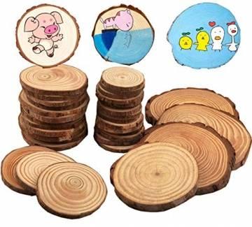 Liuer Rund Natur Holzscheiben,60PCS Holz Log Scheiben mit Baumrinde Unbehandeltes DIY Handwerk Dekoration Holz Tischdeko Hochzeits Weihnachten Baum Anhänger (3-4 cm,4-5 cm,5-6 cm,5MM Dicke) - 1