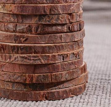 Liuer Rund Natur Holzscheiben,60PCS Holz Log Scheiben mit Baumrinde Unbehandeltes DIY Handwerk Dekoration Holz Tischdeko Hochzeits Weihnachten Baum Anhänger (3-4 cm,4-5 cm,5-6 cm,5MM Dicke) - 5