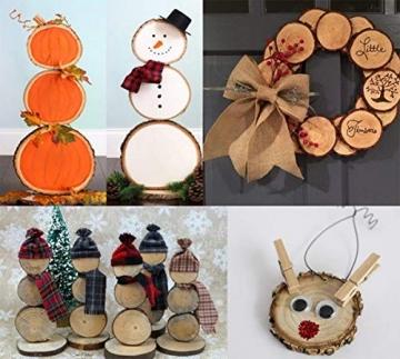 Liuer Rund Natur Holzscheiben,60PCS Holz Log Scheiben mit Baumrinde Unbehandeltes DIY Handwerk Dekoration Holz Tischdeko Hochzeits Weihnachten Baum Anhänger (3-4 cm,4-5 cm,5-6 cm,5MM Dicke) - 7