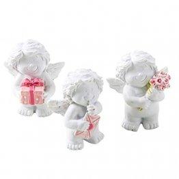 Logbuch-Verlag 3 kleine Mini Engel 5 cm weiß rosa Gastgeschenk Give-Away Tischdeko Weihnachten Kindergeburtstag Taufe Schutzengel Figur Herz Kommunion - 1