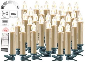 Lunartec Christbaumkerzen LED: FUNK-Weihnachtsbaum-LED-Kerzen, Fernbedienung, 30er-Set, golden (Weihnachtsbaumbeleuchtung Funk) - 3