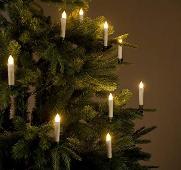 Lunartec Christbaumkerzen LED: FUNK-Weihnachtsbaum-LED-Kerzen, Fernbedienung, 30er-Set, golden (Weihnachtsbaumbeleuchtung Funk) - 5