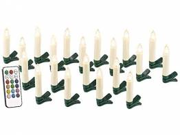 Lunartec LED Weihnachtsbaumkerzen: 20er-Set LED-Weihnachtsbaum-Kerzen mit IR-Fernbedienung, Timer, weiß (Elektrische Kerzen Weihnachtsbaum) - 1