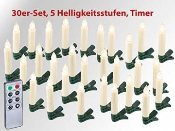 Lunartec Lichterkette kabellos: 30er-Set LED-Weihnachtsbaum-Kerzen mit IR-Fernbedienung, Timer, weiß (Kabellose Weihnachtskerzen) - 2