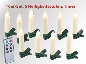 Lunartec Lichterkette kabellos: 30er-Set LED-Weihnachtsbaum-Kerzen mit IR-Fernbedienung, Timer, weiß (Kabellose Weihnachtskerzen) - 3