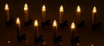 Lunartec Lichterkette kabellos: 30er-Set LED-Weihnachtsbaum-Kerzen mit IR-Fernbedienung, Timer, weiß (Kabellose Weihnachtskerzen) - 7