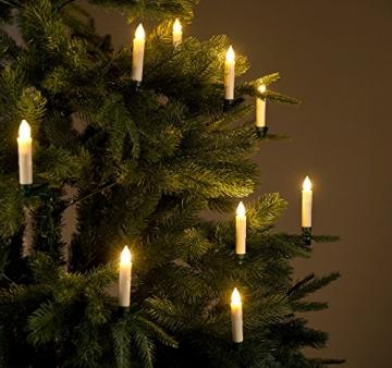 Lunartec Lichterkette kabellos: 30er-Set LED-Weihnachtsbaum-Kerzen mit IR-Fernbedienung, Timer, weiß (Kabellose Weihnachtskerzen) - 8