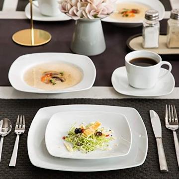 MALACASA, Serie Julia, KLEIN Tafelservice 60-TLG Kombiservice Kaffeeservice Porzellan Geschirrset mit Kaffeetassen, Untertassen, Dessertteller, Suppenteller, Speiseteller für 12 Personen je 12 Stück - 3