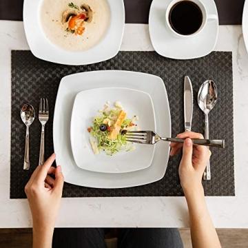 MALACASA, Serie Julia, KLEIN Tafelservice 60-TLG Kombiservice Kaffeeservice Porzellan Geschirrset mit Kaffeetassen, Untertassen, Dessertteller, Suppenteller, Speiseteller für 12 Personen je 12 Stück - 4