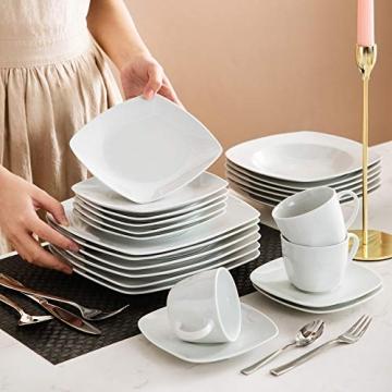 MALACASA, Serie Julia, KLEIN Tafelservice 60-TLG Kombiservice Kaffeeservice Porzellan Geschirrset mit Kaffeetassen, Untertassen, Dessertteller, Suppenteller, Speiseteller für 12 Personen je 12 Stück - 5