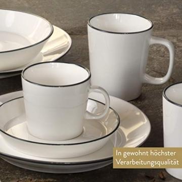 Mövenpick Geschirrset 6 Personen – Tafelservice Weiß aus Porzellan – Spülmaschinen- und Mikrowellengeeignet – 20tlg Teller Set - 4
