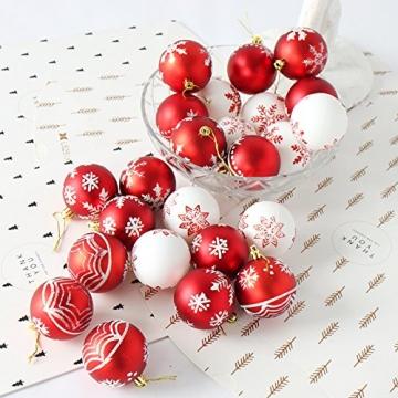 MoGist 24 Weihnachtskugel Luxuriös Glänzend Weihnachten Deko Anhänger Christbaumkugeln Plastik Bruchsicher Weihnachtsschmuck (Rot) - 2