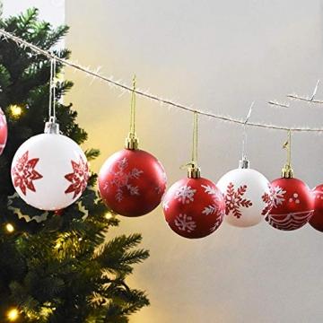 MoGist 24 Weihnachtskugel Luxuriös Glänzend Weihnachten Deko Anhänger Christbaumkugeln Plastik Bruchsicher Weihnachtsschmuck (Rot) - 3