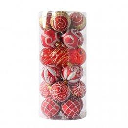 MoGist 24 Weihnachtskugel Luxuriös Glänzend Weihnachten Deko Anhänger Christbaumkugeln Plastik Bruchsicher Weihnachtsschmuck (Rot) - 1