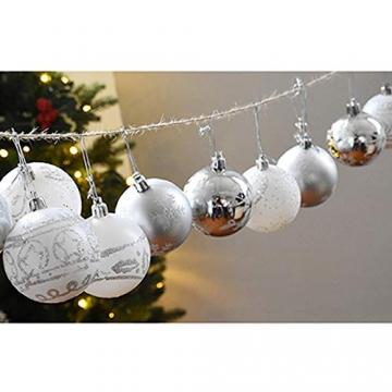 MoGist 24 Weihnachtskugel Luxuriös Glänzend Weihnachten Deko Anhänger Christbaumkugeln Plastik Bruchsicher Weihnachtsschmuck (Rot) - 4