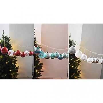 MoGist 24 Weihnachtskugel Luxuriös Glänzend Weihnachten Deko Anhänger Christbaumkugeln Plastik Bruchsicher Weihnachtsschmuck (Rot) - 6